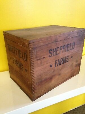 Vintage 1900s dovetail bottle Sheffield Farm Wood Milk Crate JH Dunning display