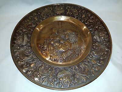 Large  copper plate renaissance hammered Vintage
