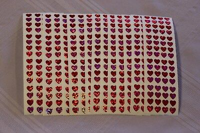 Hambly LOT of 15 Strips of Vintage Sparkle Small Red & Pink Hearts Stickers!