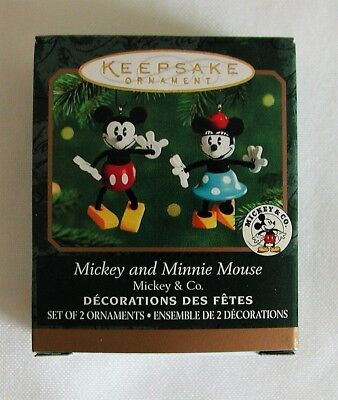 Hallmark 2 Miniature Ornaments DISNEY Mickey and Minnie Mouse 2000 MINT/box Wood