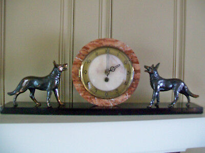 VINTAGE ART DECO FRENCH UCRA MARBLE CLOCK WITH GERMAN SHEPHERD DOGs- BEAUTIFUL!