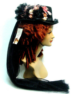 Vintage Victorian Style Ladies Riding Hat Black Rose with English Netting Bow