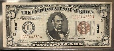1934 A $5 Dollar Bill Wwii Ww2 Hawaii Brown Seal Note Currency Paper Money