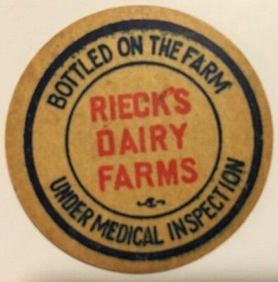 13 Rieck's Dairy Farms Milk Bottle Caps - Great condition & Free S&H!