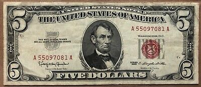 1963 Star 5 Dollar Bill United States Legal Tender Red Seal Note Paper Money