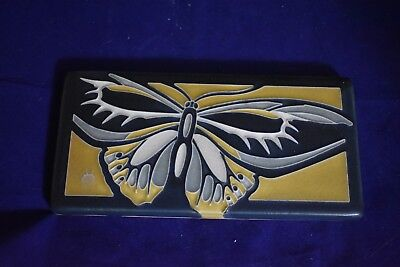 Motawi Tile Works, Rare Alexandria Butterfly, by EA Segay?, Black Gray Yellow