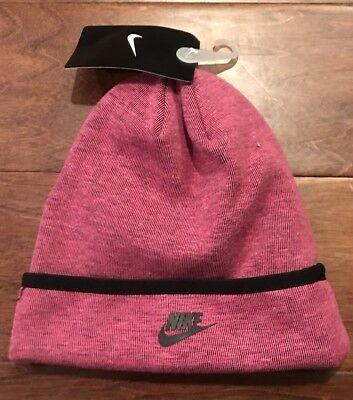 ba1157b2fca NIKE 3A2654-A3D GIRLS Tech Fleece Vivid Pink Black Beanie Hat Size 4 ...