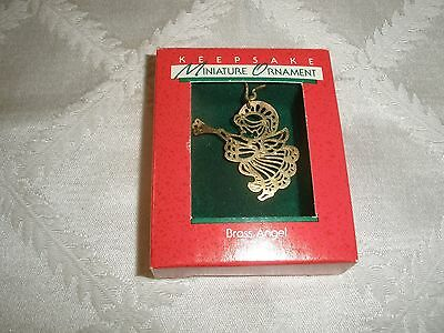 1988 Vintage Miniature Hallmark Keepsake Christmas Ornament, Brass Angel~T9423