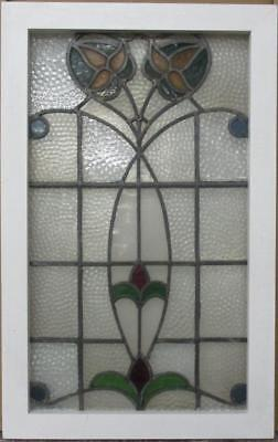 "LARGE OLD ENGLISH LEADED STAINED GLASS WINDOW Gorgeous Floral 19.75"" x 31"""
