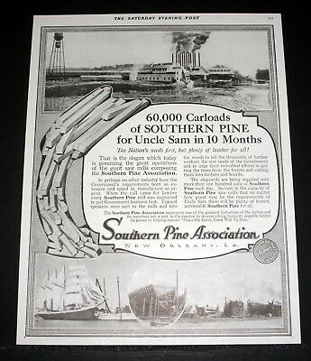 1918 Old Magazine Print Ad, Southern Pine Assc, 60,000 Carloads For Uncle Sam!