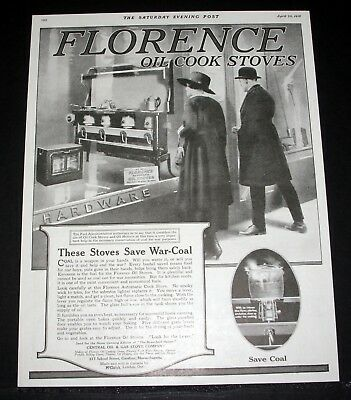 1918 Old Magazine Print Ad, Florence Oil Cook Stove, These Stoves Save War Coal!