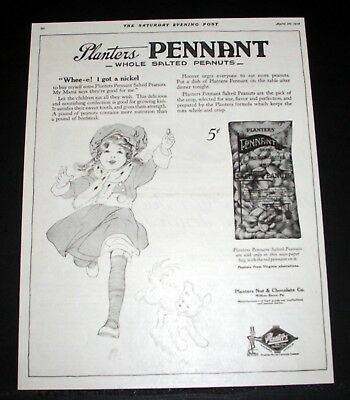 1918 Old Wwi Magazine Print Ad, Planters Pennant Whole Salted Peanuts, A Nickel!