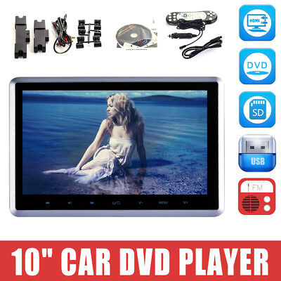 "HDMI 10"" HD Digital LCD Screen Car Headrest Monitor DVD/USB/SD Player IR/FM New!"