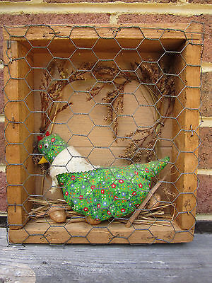 Southern Folk Art Chicken Coup w Quilted Chicken and eggs Vintage