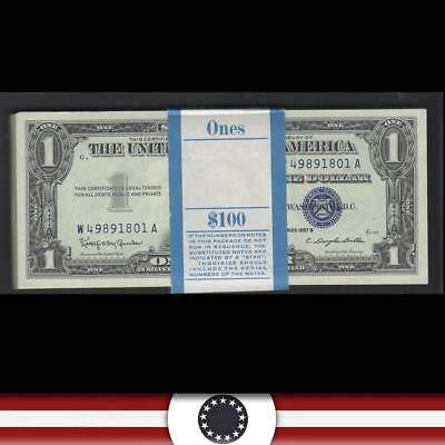 UNC consecutive pack of 100 1957-B $1 Silver Certificates Fr 1621  W49891801A