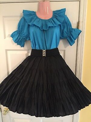 Square Dance-Square Up Teal Top & Malco Modes Skirt w/ Belt & Man's Tie-Med/ Sm