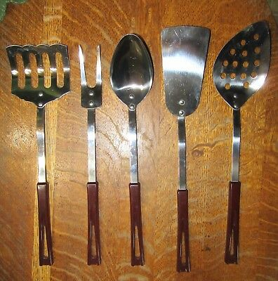 5 Vintage StanHome Stainless Long Handled Kitchen Utensils-Nice Condition!