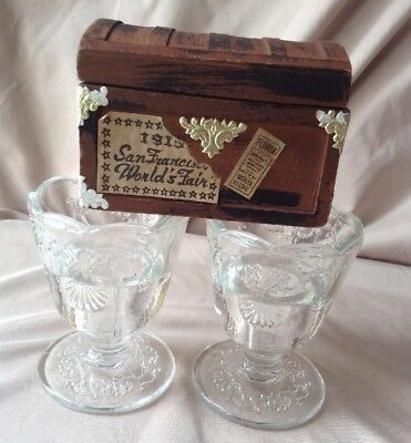 A Pair Of Vintage LA ROCHERE FRENCH Crystal Glass Embossed Egg Cup Holder Easter