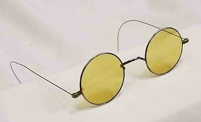 Tinted Vintage SPA Round Wire Rim Glasses Motorcycle Steampunk Lens