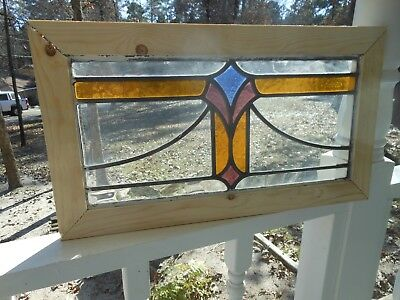 MA12-224 Lovely Older Leaded Stain Glass Window From England Reframed