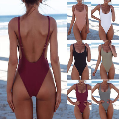 Women Backless Sexy Push Up One-piece Solid Retro Triangle Swimsuit Swimwear US