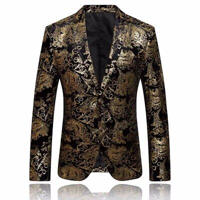 Fashion Men Dress Floral Suit Notched Lapel Slim Fit Stylish Blazer Coat Jacket