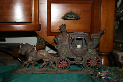 Antique Cast Iron Stage Coach Lamp-Oxford To London Mail-Horse Drawn Carriage
