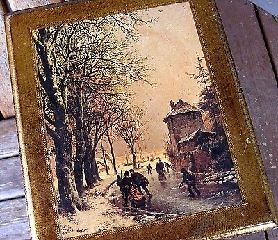 Vintage Weathered Plaque Wood Picture Shabby French Chic Italy Winter Scene Worn