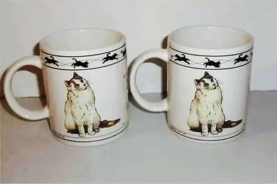 Mint Collectible Persian Long Hair White Cream Coat Cat Mugs Set Of 2 Cat Lovers