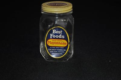 Best Foods Mayonnaise Half Pint Jar with Paper Label and Marked Lid