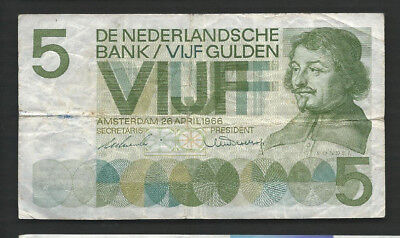 Netherlands 1966 5 Gulden P 90a Circulated