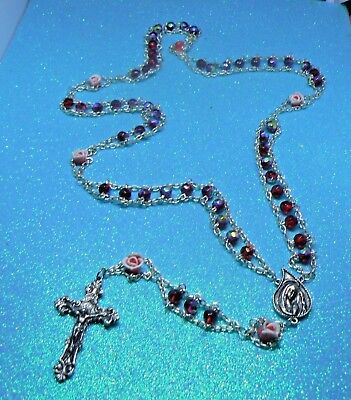 """Vintage   """"our Lady Of Sorrows""""  Red Carnival Glass  Jacob's Ladder Rosary"""