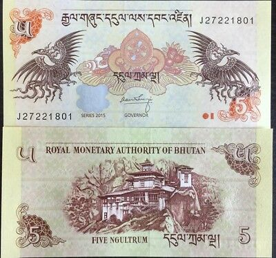 Bhutan 5 Ngultrum 2015 P 28 New Date Unc Lot 100 Pcs 1 Bundle Nr