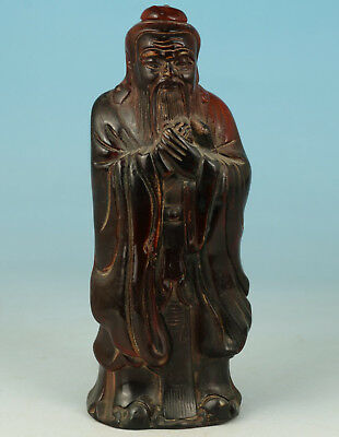 Chinese Old Yak Horn Collection Handmade Carved Elder Statue