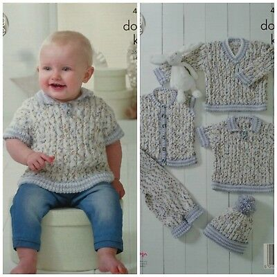 15768a299 KNITTING PATTERN BABY Cable Jumpers Leggings Hat Waistcoat DK King ...