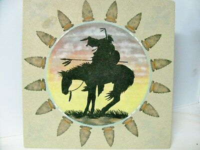 Vintage Indian Sand Painting End Of The Trail By Dez 12 X 12
