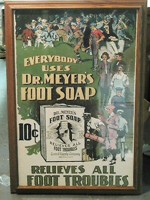 Vintage Dr. Meyers Foot Soap Advertising Lithograph Glass Framed