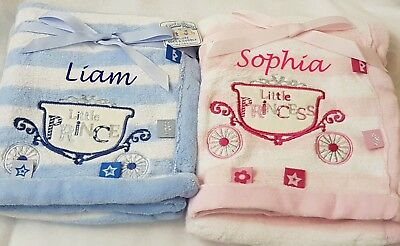 Personalised Embroidered Baby Comforter Blanket Taggy Prince/ss Newborn Gift