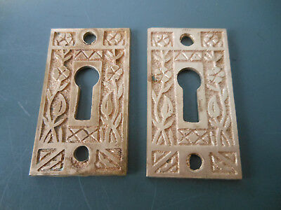 2 matching solid brass Eastlake key hole covers