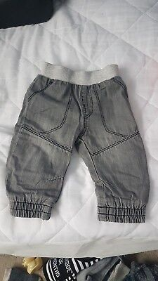 Baby boys lined grey denim joggers 3-6 months