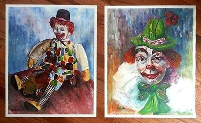 CLOWN ART   -  TWO  (2)  17 x 21  high quality textured lithographs