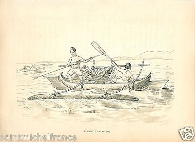 Pirogue A Balancier Peche Fishing  Madagascar 1887 Gravure Antique Print