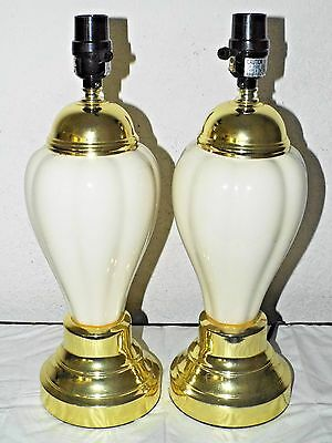 """Lamps A Pair Of 17""""h 3-Way Fancy Ivory Colored Ceramic & Metal Night-Stand Lamps"""