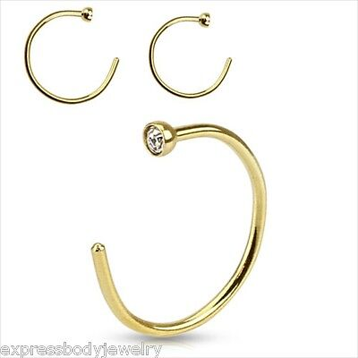 "1 PIECE 20g Clear 2MM CZ Gold Plated Steel Nose Ring Hoop 5/16"" Or 3/8"""