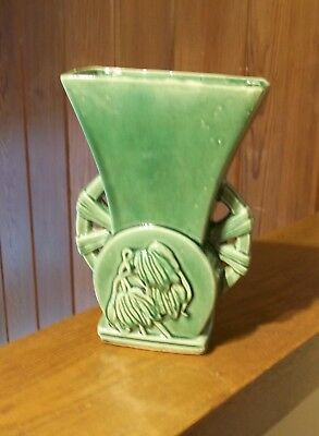 Very Heavy Vintage McCoy Art Pottery, Green Vase with Wilted Flowers, U.S.A.