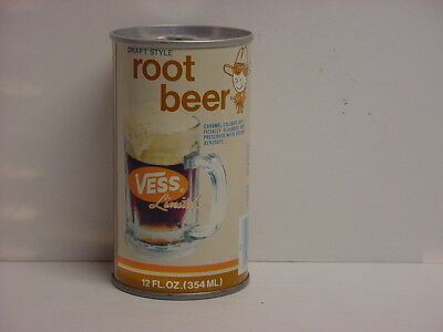 Vintage Vess Root Beer Straight Steel Pull Tab Bottom Opened Soda Can