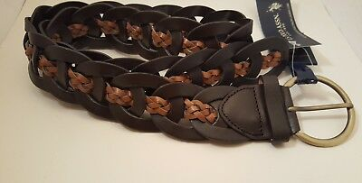 Women's Leather Belt Braided Brown Round Shape Buckle U.S. Polo Assn. Size M/L