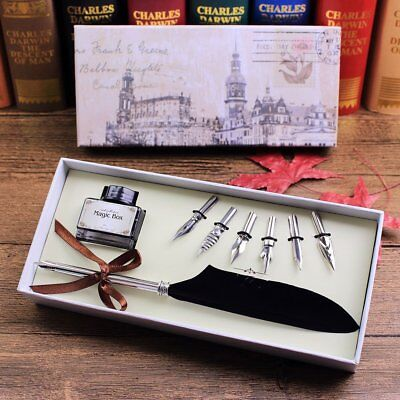 Dip Pen Set With Quill Ink And Box Feather Fountain Vintage Antique Calligraphy