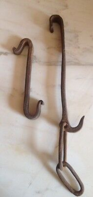 Antique Primitive Hand Forged Iron Hanger Hook and Hanger Hook with Chain