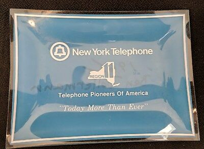"Vintage 1960s  ""New York Telephone"" Glass Ashtray Telephone Pioneers of America"